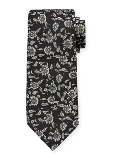 Etro Men's Metallic Floral Silk Tie