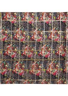 Etro Metallic checked printed silk-blend voile scarf