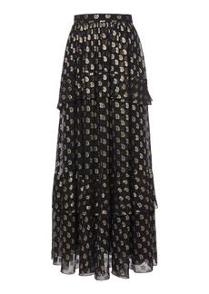 Etro Metallic Embroidered Silk-Organza Maxi Skirt