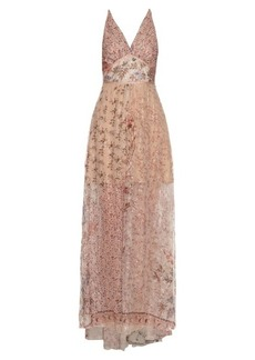 Etro Metallic floral-embellished silk-chiffon gown