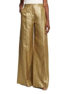 Etro Metallic High-Rise Wide-Leg Pants