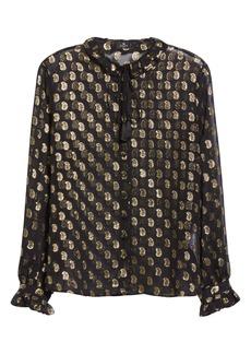 Etro Metallic Paisley Sheer Silk Blouse