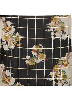 Etro Metallic printed silk-blend jacquard scarf