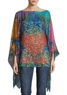 Etro Metallic Printed Silk Poncho