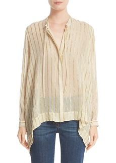 Etro Metallic Stripe Silk Blend Blouse