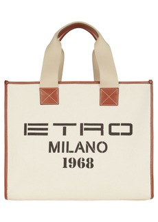 Etro Milano 1968 Canvas Tote - White