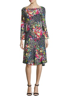 Etro Mini Floral-Print Boat-Neck Dress