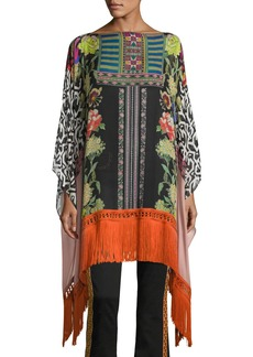 Etro Mixed Floral-Print Poncho with Fringe