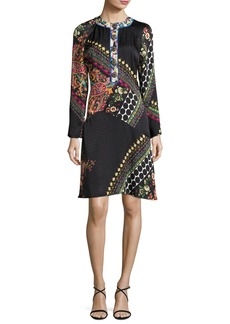 Etro Mixed Paisley Jacquard Long-Sleeve Dress