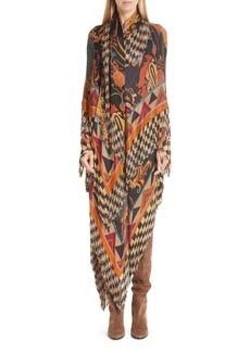 Etro Mixed Print Fringe Knit Dress