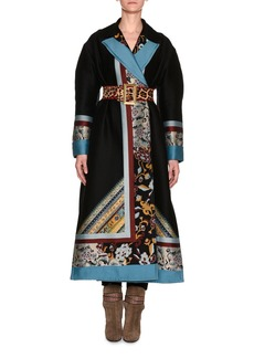 Etro Mixed-Print Full-Length Coat