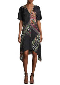 Etro Mixed-Print Short-Sleeve Silk Dress
