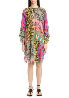 Etro Mixed Print Silk Chiffon Caftan Dress