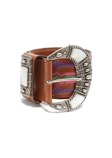 Etro Mother-of-pearl inlay embroidered-leather belt