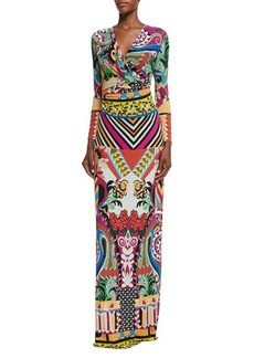 Etro Multi-Print Faux-Wrap Maxi Dress