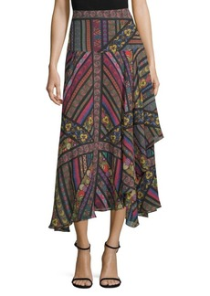 Multi-Ribbon Silk Midi Skirt