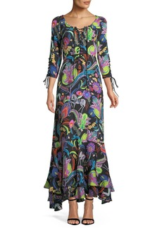Etro Multicolor Floral-Print Lace-Up Silk-Blend Gown w/ Tiered Hem