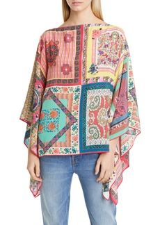 Etro Multiprint Silk Poncho