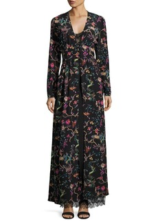Etro Mythical Floral Long-Sleeve Lace-Inset Gown