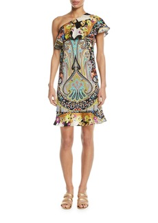 Neon Paisley Floral Ruffle One-Shoulder Dress