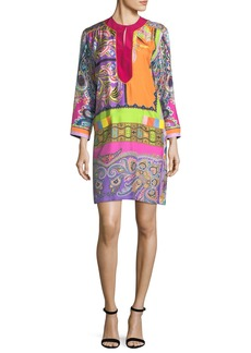 Etro Neon Psychedelic-Print Shift Dress