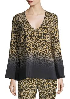 Etro Ombre Leopard-Print Silk V-Neck Top