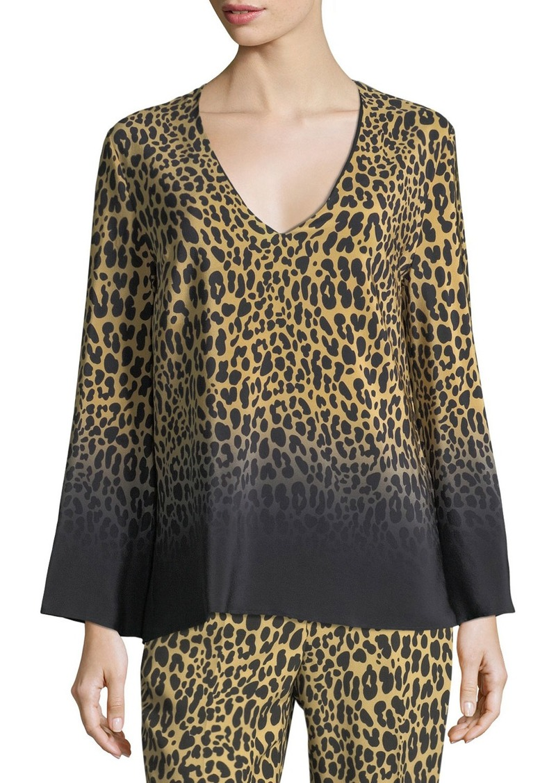 246dfac1656cf On Sale today! Etro Ombre Leopard-Print Silk V-Neck Top