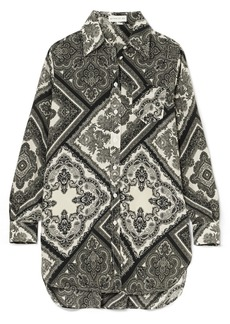 Oversized printed silk-georgette shirt