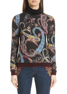 Etro Paisley & Heart Wool Blend Turtleneck Sweater