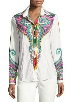 Etro Paisley & Ikat Cotton Blouse