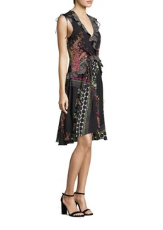 Etro Paisley & Polka Dot Lace-Trimmed V-Neck Dress