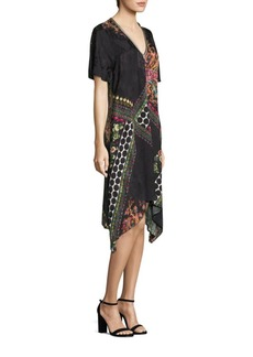 Etro Paisley & Polka Dot V-Neck Trapeze Dress