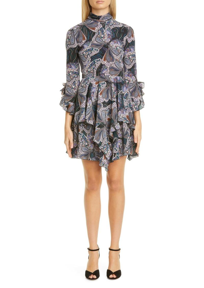 Etro Paisley Asymmetrical Ruffle Silk Minidress