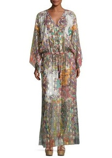 Etro Paisley Belted Long-Sleeve Gown