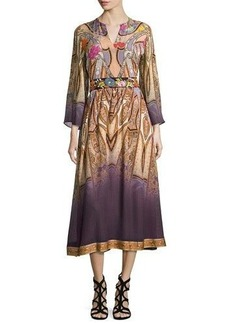 Etro Paisley Bracelet-Sleeve Midi Dress