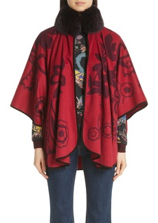 Etro Paisley Cashmere Poncho with Genuine Fox Fur Collar