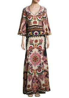 Etro Paisley Cutout-Back Bell-Sleeve Gown
