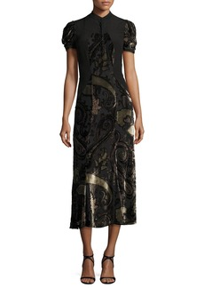 Etro Paisley Dévoré Short-Sleeve Midi Dress