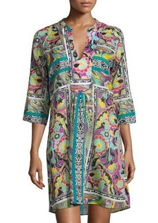 Etro Paisley Floral 3/4-Sleeve Tunic Coverup