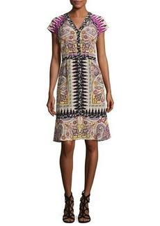 Etro Paisley Floral-Trim V-Neck Flounce Dress