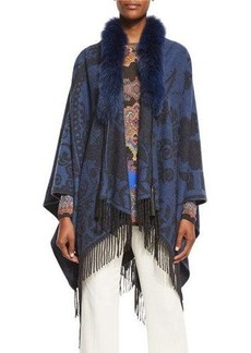 Etro Paisley Fringe Cape with Fur Collar