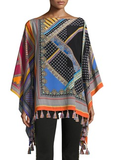 Etro Paisley Grid Patchwork Silk Poncho