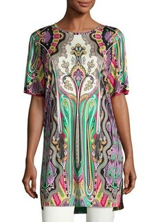 Etro Paisley Half-Sleeve Long Tunic