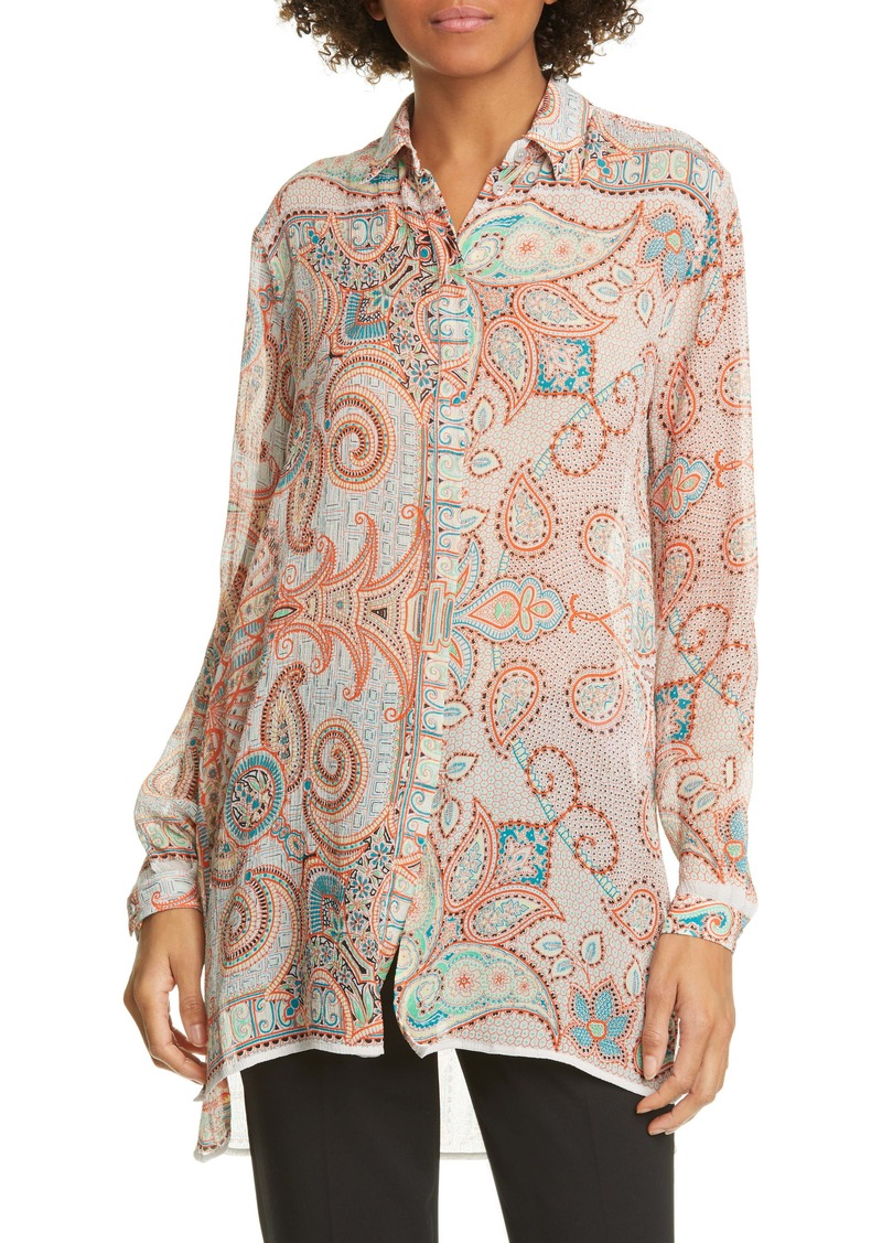 Etro Paisley High/Low Silk Tunic
