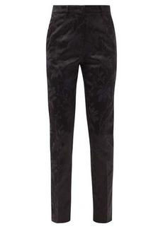 Etro Paisley-jacquard satin slim-leg trousers