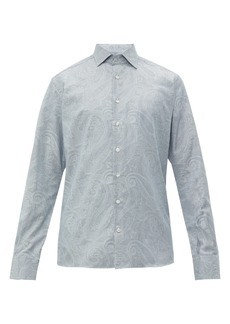 Etro Paisley-jacquard striped cotton shirt