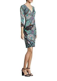 Etro Paisley Jersey Faux-Wrap Dress