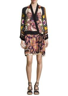Etro Paisley Kimono Wrap Minidress