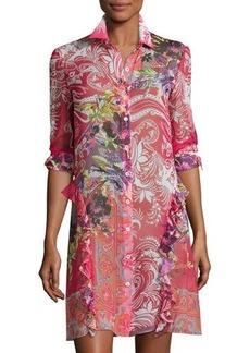 Etro Paisley Leaf-Print Silk Shirtdress Tunic