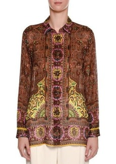 Etro Paisley Long-Sleeve Silk Blouse